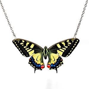 Unique Swallowtail Butterfly Wood Necklace